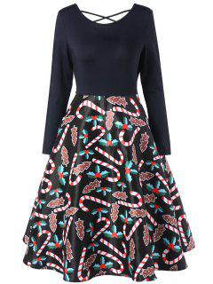 Christmas Criss Cross Graphic Swing Dress - Black L