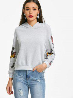Butterfly Print Sleeves Hoodie - Light Gray Xl