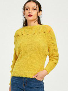 Slash Neck Mohair Sweater - Ginger