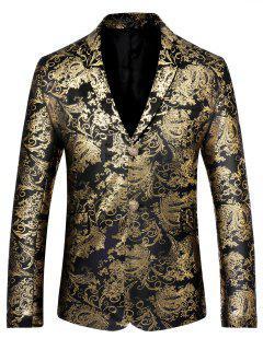 Retro Pattern Single Breasted Velveteen Blazer - Golden S