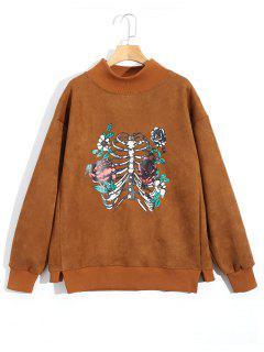 Skeleton High Neck Suede Sweatshirt - Brown L
