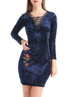 Lace Up Stickerei Samt Figurbetontes Kleid - Cerulean M