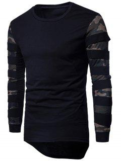 Crew Neck Mesh Panel Camouflage Asymmetric T-shirt - Black L