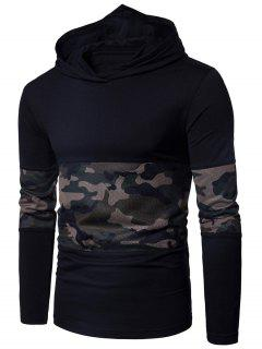 Hooded Mesh Camouflage Panel T-shirt - Black L