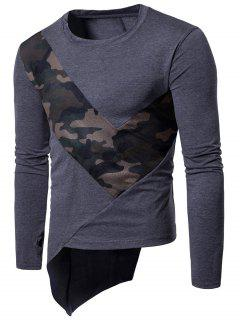 Crew Neck Mesh Camouflage Panel Asymmetric T-Shirt - Deep Gray M