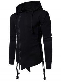 Hooded Asymmetric Side Lace Up Zip Up Hoodie - Black L
