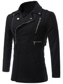 Epaulet Design Asymmetrical Zip Up Coat - Black L