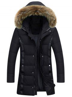 Zip Up Faux Fur Hood Padded Coat - Black Xl