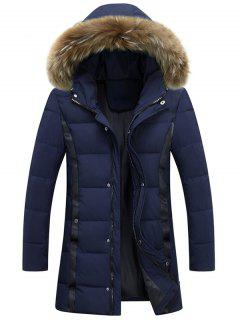 Zip Up Faux Fur Hood Padded Coat - Purplish Blue 3xl