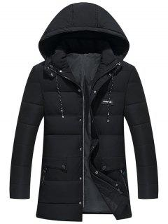 Ribbon And Zipper Embellished Hooded Padded Coat - Black 8xl