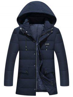 Ribbon And Zipper Embellished Hooded Padded Coat - Purplish Blue 5xl