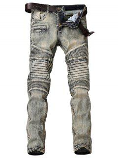 Zipper Fly Accordion Pleat Bleach Wash Jeans - Gray 34