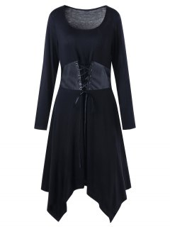Plus Size Long Sleeve Belted Handkerchief Dress - Black 5xl