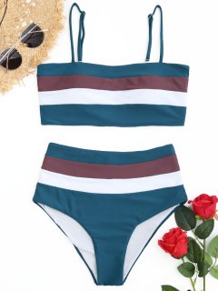 Cami Gestreifter Hoch Taillierter Bikini - Dunkelgrün S