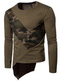 Crew Neck Mesh Camouflage Panel Asymmetric T-Shirt - Army Green 2xl