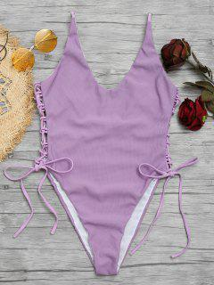 Lace-up High Cut Swimsuit - Light Purple L