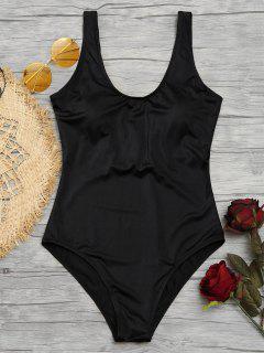 Shiny Padded One Piece Swimsuit - Black M