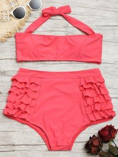 Conjunto De Bikini De Talle Alto Con Volantes Halter - Sandia Roja L