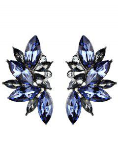 Rhinestone Faux Crystal Statement Earrings - Blue