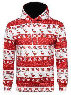 Hooded Christmas Elk Snowflake 3D Print Hoodie - M