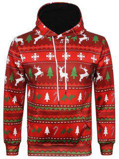 Hooded Christmas Elk Snowflake Geometric Print Hoodie - M