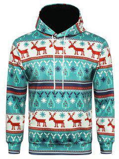 Hooded Christmas Elk Geometric Print Pullover Hoodie - L