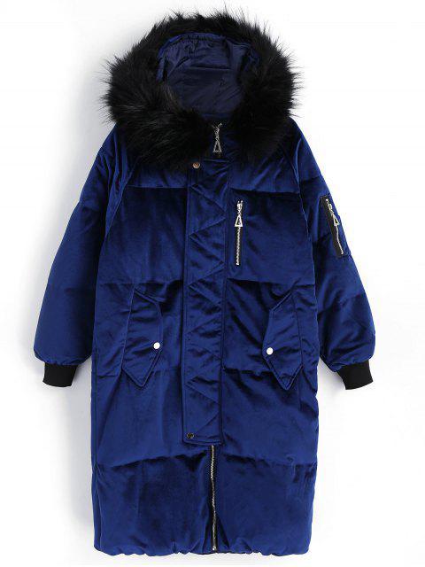 shops Velvet Hooded Padded Coat - ROYAL M Mobile