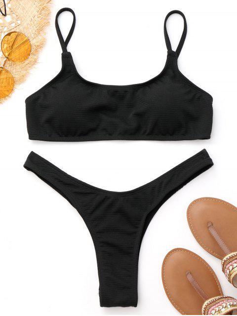 affordable High Cut Thong Bikini - BLACK M Mobile