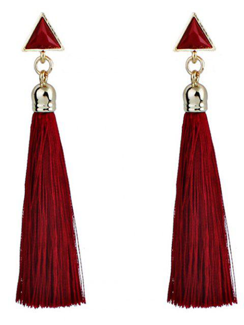 buy Triangle Tassel Ethnic Drop Earrings - RED  Mobile