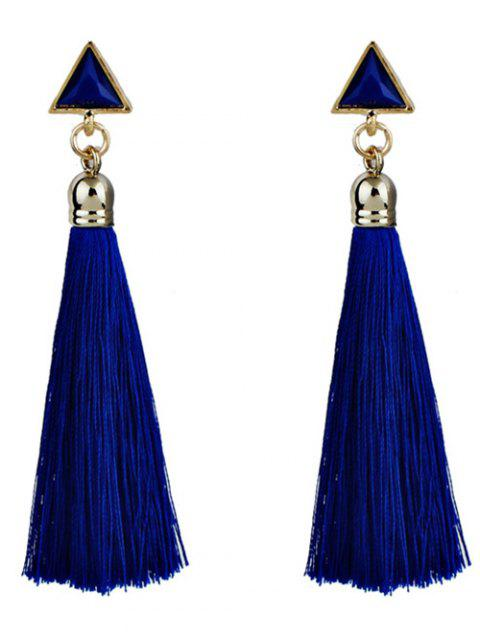women's Triangle Tassel Ethnic Drop Earrings - BLUE  Mobile