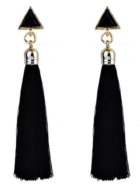 Triangle Tassel Ethnic Drop Earrings - Negro  Mobile