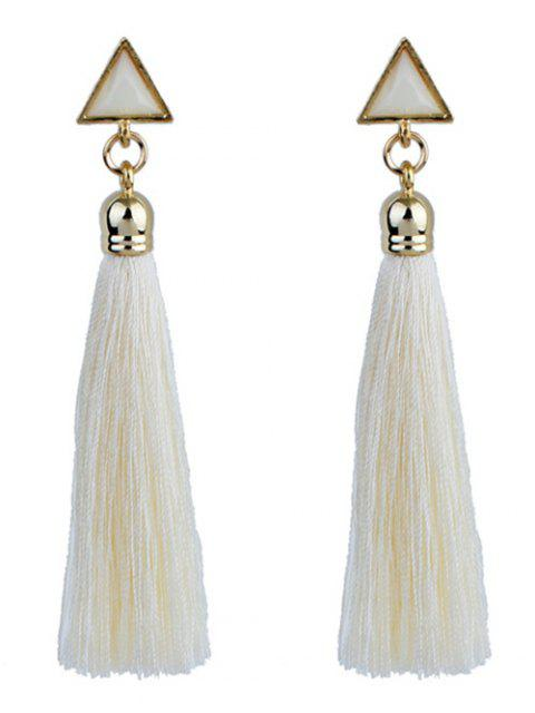 online Triangle Tassel Ethnic Drop Earrings - WHITE  Mobile