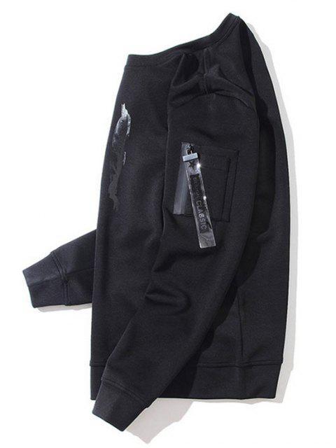 womens Utility Pocket Crew Neck Sweatshirt - BLACK M Mobile