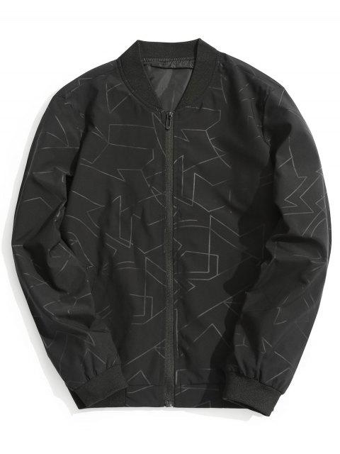 women Abstract Print Bomber Jacket - BLACK 3XL Mobile
