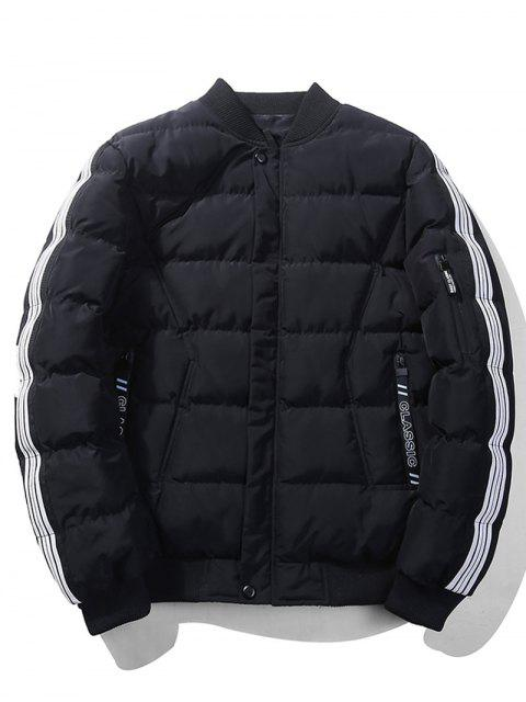 women Striped Sleeve Quilted Jacket - BLACK 3XL Mobile