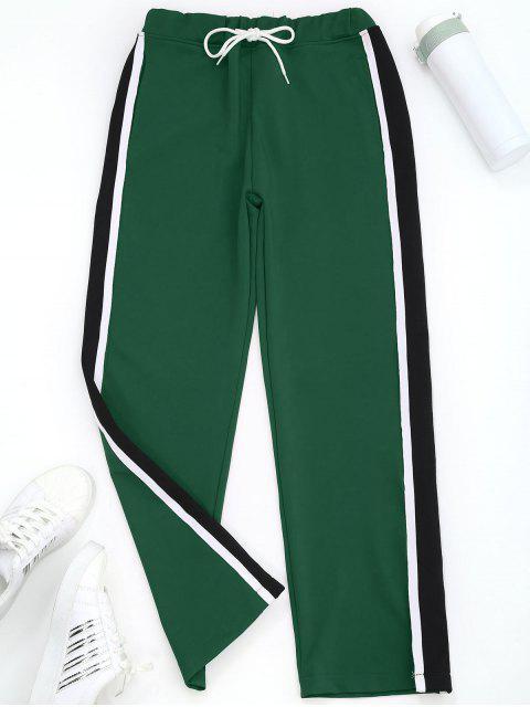 Pantalones deportivos con rayas anchas y pierna rayada - Verde S Mobile