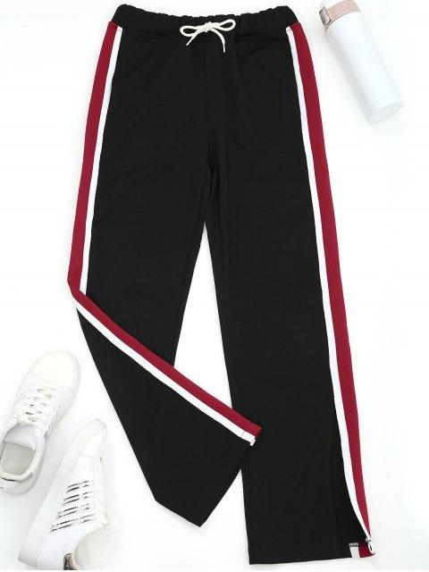 affordable Slit Wide Leg Striped Sporty Pants - BLACK S Mobile