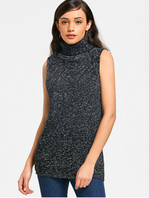 new Turtleneck Heathered Sweater Vest - BLACK ONE SIZE Mobile