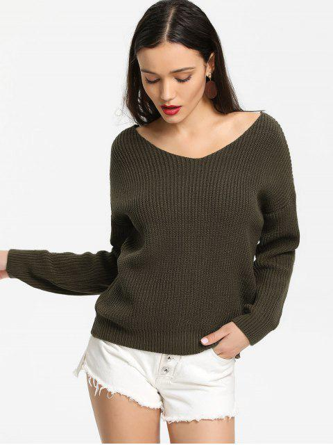 sale Back Lace Up V Neck Pullover Sweater - ARMY GREEN ONE SIZE Mobile