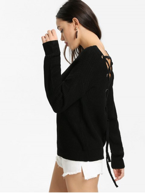 affordable Back Lace Up V Neck Pullover Sweater - BLACK ONE SIZE Mobile