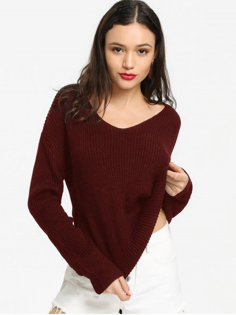 hot Back Lace Up V Neck Pullover Sweater - WINE RED ONE SIZE Mobile