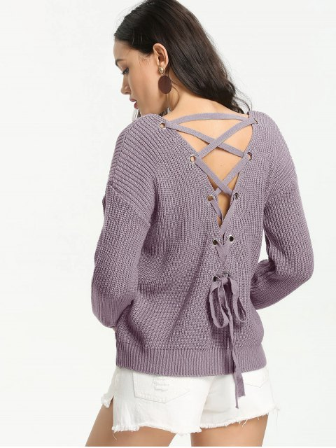 outfit Back Lace Up V Neck Pullover Sweater - SMASHING ONE SIZE Mobile