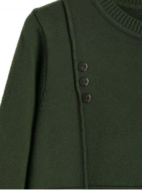 lady Buttoned Side Slit Pullover Sweater - ARMY GREEN ONE SIZE Mobile