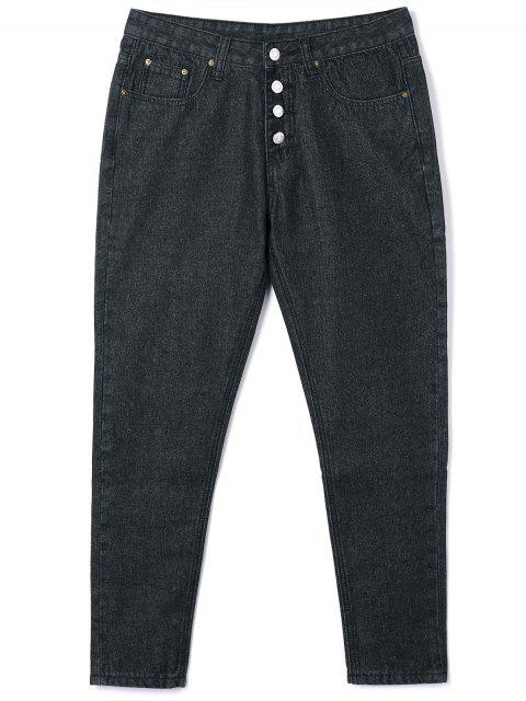 fancy Button Closure Tube Jeans - BLACK S Mobile