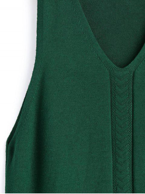 Chaleco largo con cuello en V y fruncido - Verde Talla única Mobile