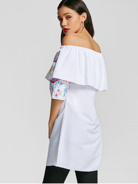 buy Overlay Off The Shoulder Tunic Top - WHITE L Mobile
