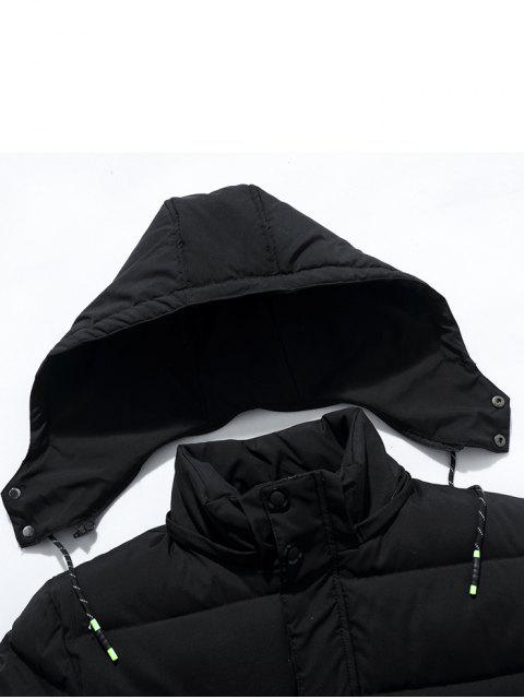 online Ribbon and Zipper Embellished Hooded Padded Coat - BLACK 8XL Mobile
