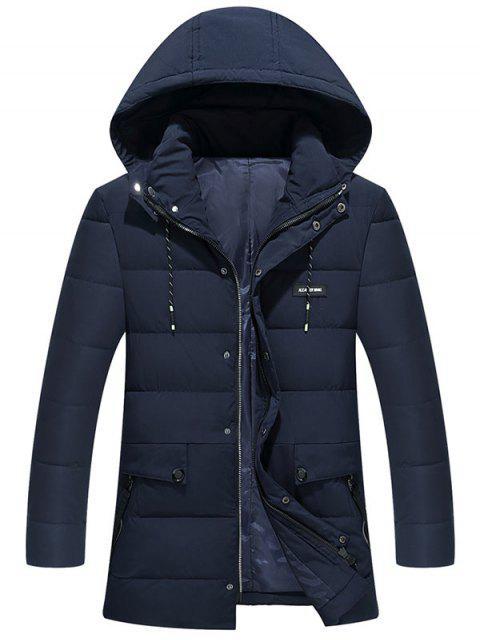 shops Ribbon and Zipper Embellished Hooded Padded Coat - PURPLISH BLUE 5XL Mobile