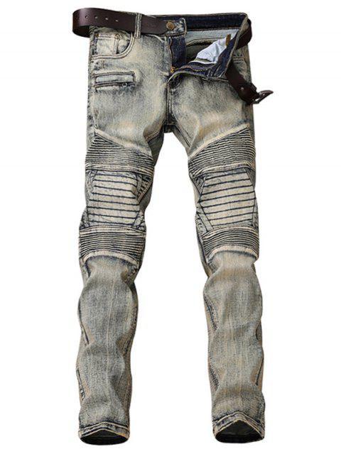 Zipper Fly Accordion Pleat Bleach Wash Jeans - Gris 31 Mobile