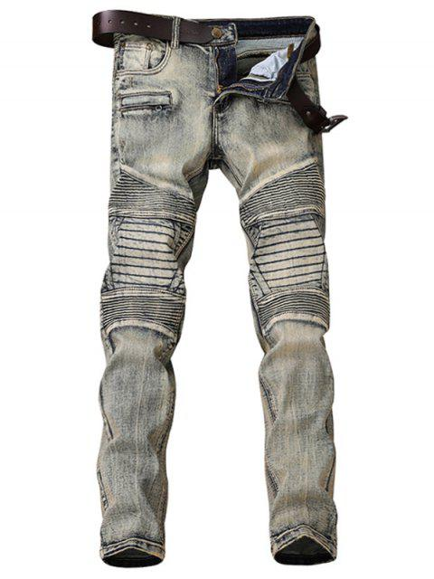best Zipper Fly Accordion Pleat Bleach Wash Jeans - GRAY 36 Mobile